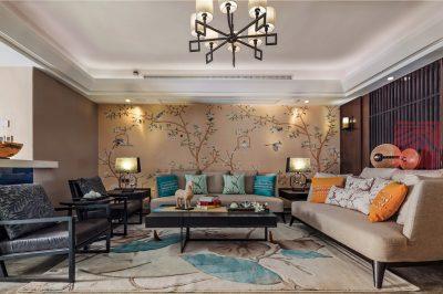 现代风格三居室107平方米装修案例-成都装修网