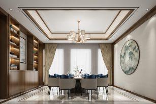 美式风格装修效果图三居室115平方米家装案例-成都家装保姆装修网