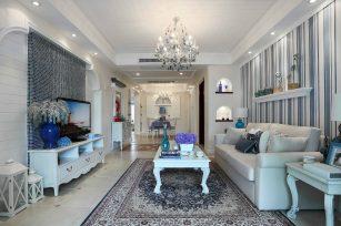 地中海风格装修效果图三居室128平方米家装案例-成都家装保姆装修网
