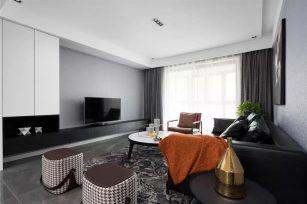 现代风格装修效果图三居室107平方米家装案例-成都家装保姆装修网