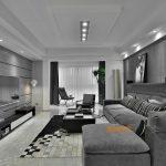 2020年后现代黑白灰极简实景图效果图40-家装保姆-罗小红成都家装设计团队
